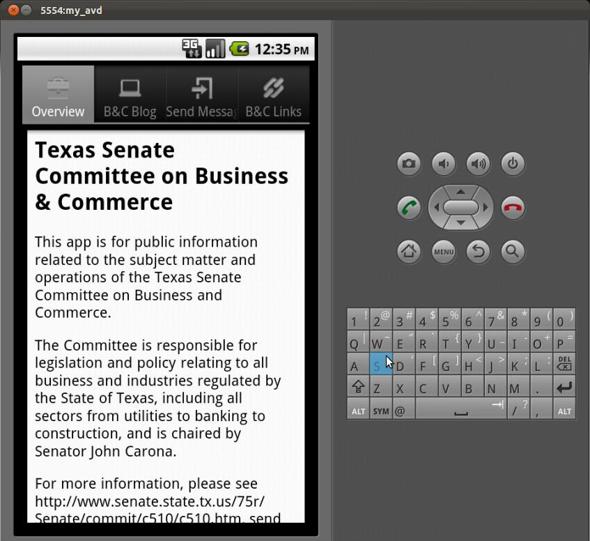 Screenshot by Dan Galewsky of app in development