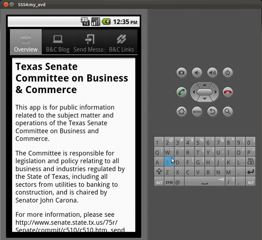 Screenshot by Dan Galewsky of app in development
