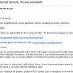 Email from Course Assistant