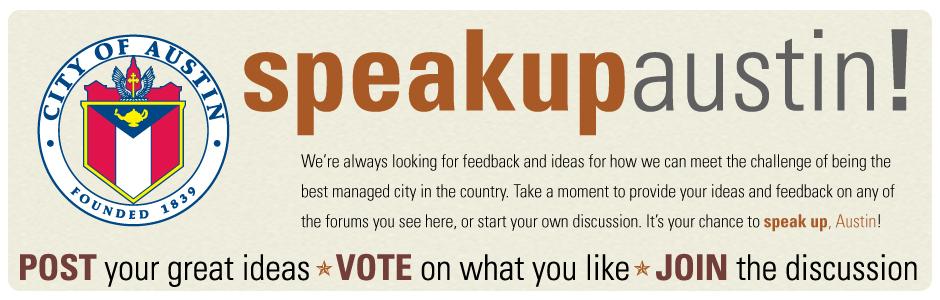 Speak Up Austin banner