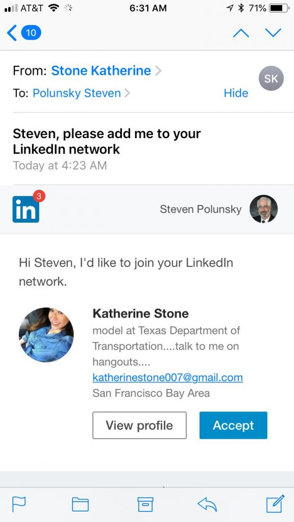Fake LinkedIn Invite